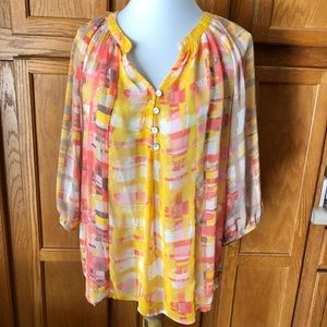🍁Fig & Flower Anthro Small Pink Boho Top Tunic
